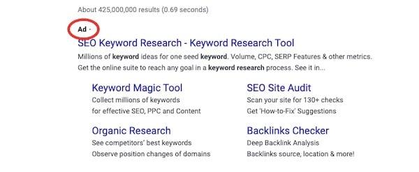 seo keyword research search ad