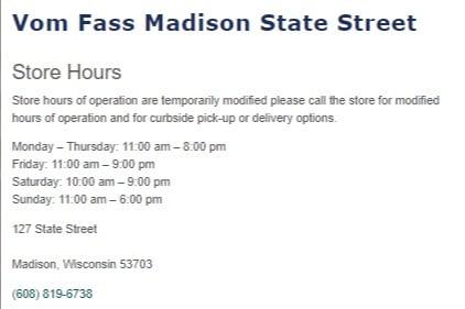 Vom Fass Madison location