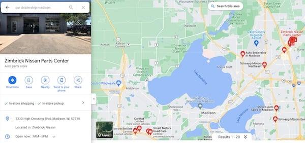 Zimbric Nissan parts center google my business profile